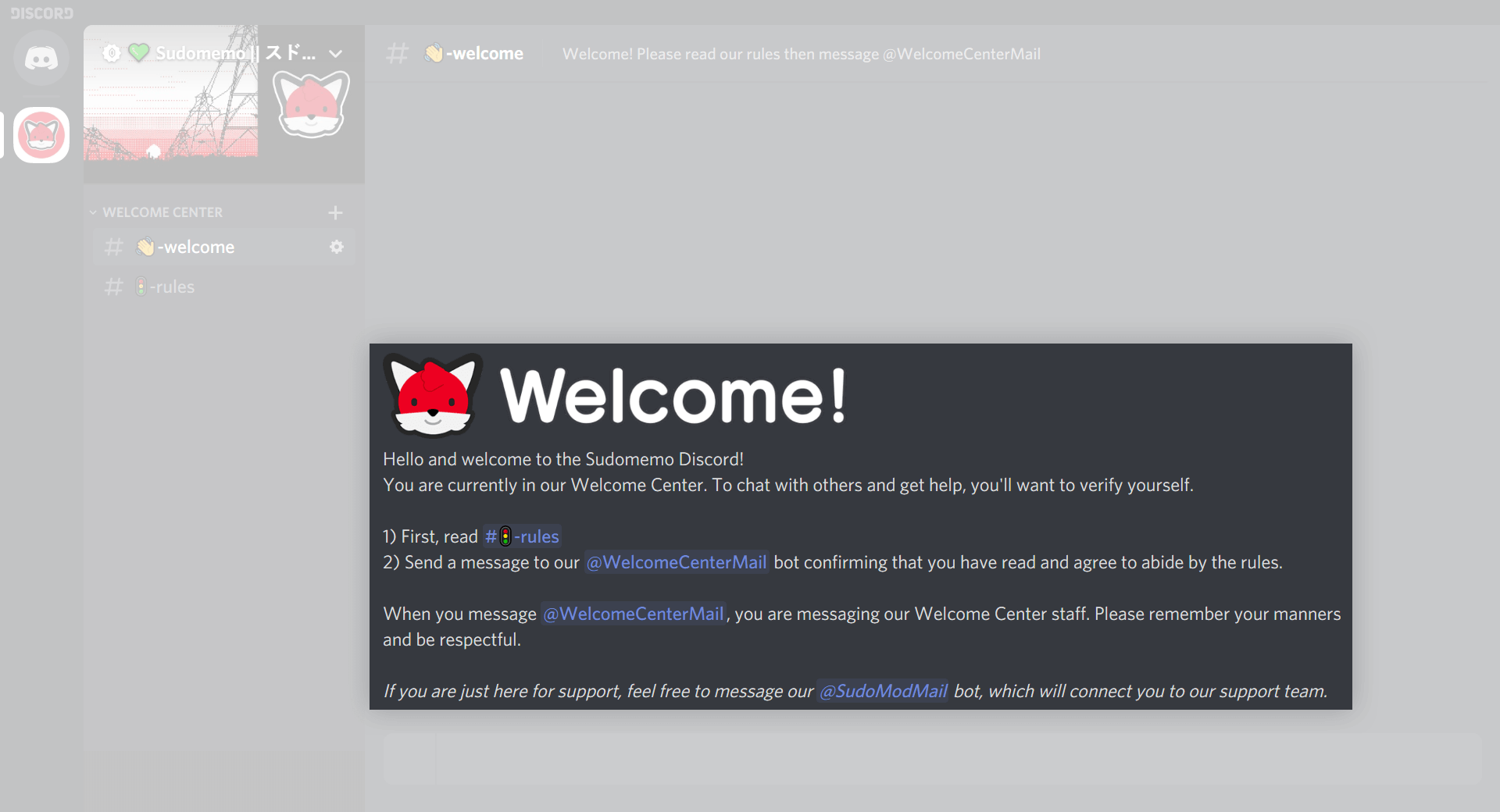 Sudomemo Welcome Center Screenshot