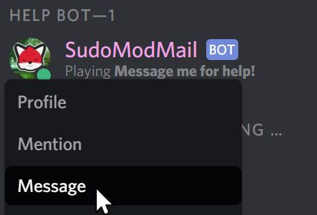 "A user right-clicking ""SudoModMail"" and selecting ""Message""."