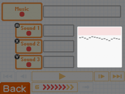Audio recording screen on Flipnote Studio