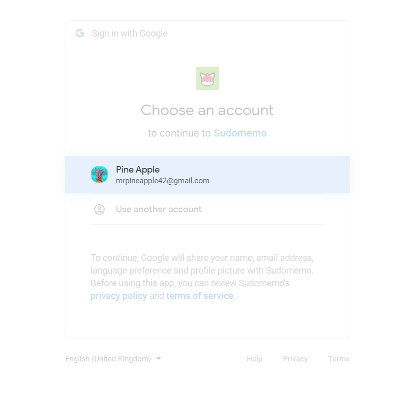 Choosing Google Account