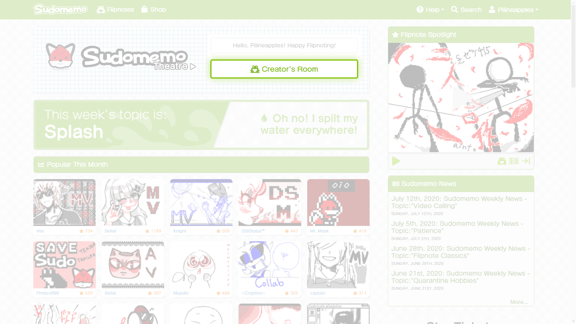 Sudomemo Home Page with Creator's Room Selected