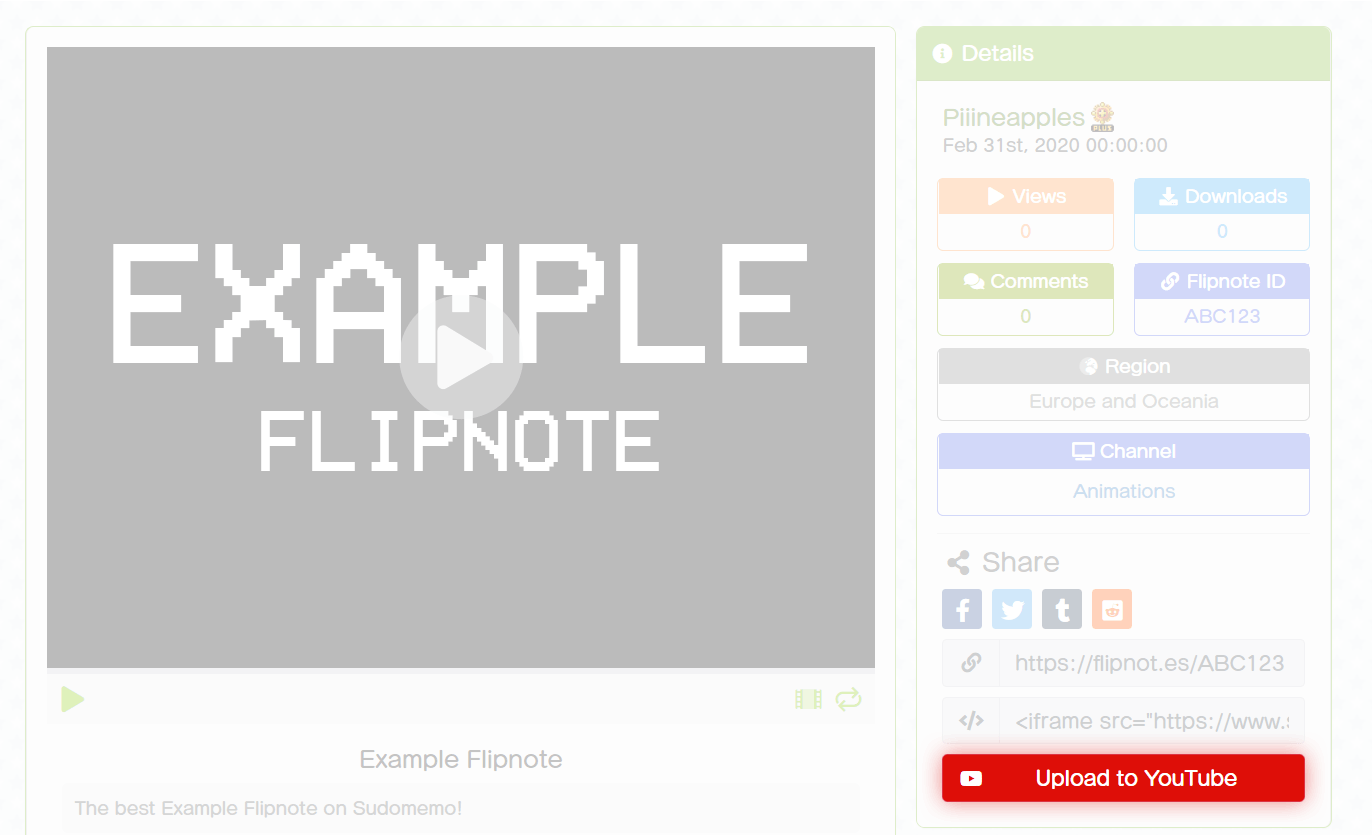 Uploading Example Flipnote to YouTube